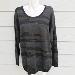 City Chic Camo Print Long Sleeve Knit Sweater